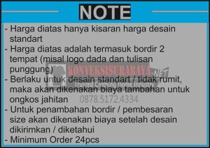 Daftar Harga Baju Kemeja Seragam Bordir Surabaya 2