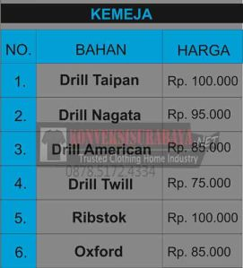 Daftar Harga Baju Kemeja Seragam Bordir Surabaya