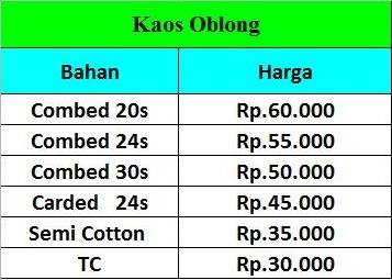 Harga Kaos Oblong